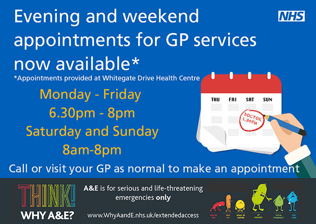 Evening and weekend appointments for GP services now available
